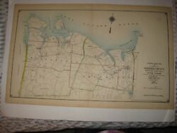 Antique 1917 Suffolk County New York Map Huntington Smithtown St James Northport