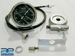 Smiths Replica 80 Mph Speedo Black+drive And 35 Inch Cable For Classic Bikes Ecs