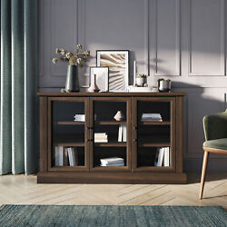 55 Farmhouse Rustic Wood Sideboard Universal Stand Buffet Cabinet Glass Storage