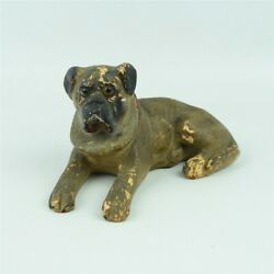 Antique Chalkware Laying American Bulldog Statue Figure Glass Eyes Dog 7quot; Long