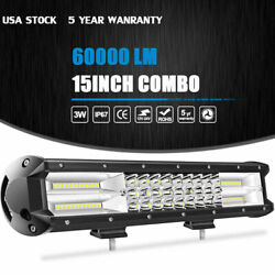 15 Tri Row Cree Led Work Light Bar 6000lm Flood Spot Combo Offroad Driving Lamp