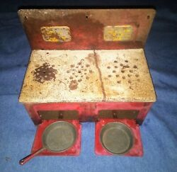 Antique Vintage Marx Lil Orphan Annie Toy Red Metal Stove 1930's