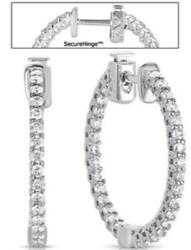1.24ct Diamond 14kt White Gold Shared Prong Inside Out Huggie Hanging Earrings