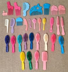 1980s And 1990s Vintage Barbie Hair Brushes And Hair Combs 32 Pieces