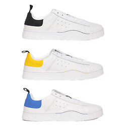 Diesel Menand039s Low Trainers S-clever Mohawk Logo Real Leather Contrasts - White