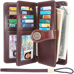 Lavemi Womens Large Capacity RFID Blocking Leather Wristlet Clutch Wallets Card $34.72