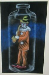Jazz Clown In A Bottle Original Pastel On Paper Prison Art Painting Unsigned
