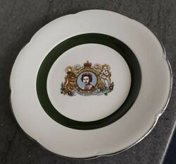 Wall Plate Commemorating Silver Jubilee Of Queen Elizabeth 11 By Wood And Son.