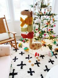 West Elm Playful And Fashionable Giraffe Christmas Ornament Hand-felted Nwt