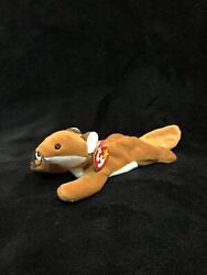 Ty Sly Fox Beanie Baby Style 4115 1996 Retired With Errors And Pvc Pellets