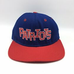 Vintage New England Patriots Snapback Hat Nfl Delong Spell Out Blue Red Usa