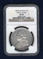 Italy Papal States Pope Pius Ix 1867 5 Lire Silver Coin Ngc Certified Au58