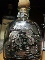 Silver Patron Bottle Filled With U.s. Quarters 1.75ml Rare Bottle With Cork