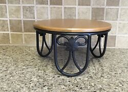 "Longaberger Wrought Iron PLATE STAND Riser Server amp; Woodcrafts Shelf 4 1 2"" Tall"