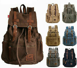Shoulder Satchel Canvas Leather 15quot; 17quot; Laptop Backpack Travel Camping Rucksack $29.99