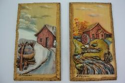 Pair Of Vtg 3d Hand Carved And Painted Wooden Wall Plaques H. Nadeau Quebec Euc