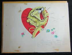 Valentines Day Lion Roaring W/ Heart And Flowers 18x13.5 Greeting Card Art Nn