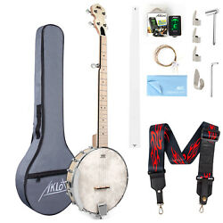 Aklot 5 String Banjo Guitar Open Back Maple 24 Bracket Geared 5th Tuner Arm Rest
