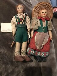 Vintage 50's Italian Costume All Cloth Old Ethnic Dolls Hand Made Hand Painted