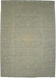 Muted Teal Floral Classic 10x14 Hand-knotted Vintage Style Oriental Rug Carpet