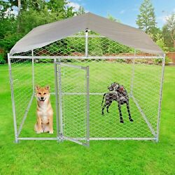 Lonabr Metal Dog Kennel Outdoor Large Dog Crate Playing Coop Pig With Cover