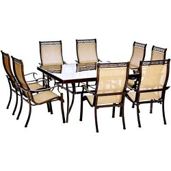 Monaco9pc 8 Sling Spring Chairs 60 Square Glass Top Table - Tan Sling/glass