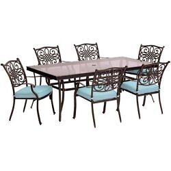 Traditions7pc 6 Dining Chairs, 42x84 Glass Top Table - Blue/glass