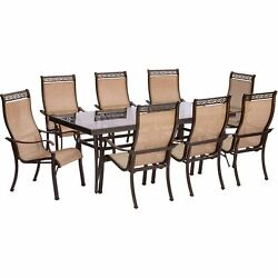 Monaco9pc 8 Sling Dining Chairs 42x84 Glass Top Table - Tan Sling/glass
