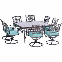 Traditions9pc 8 Swivel Rockers 60 Square Glass Top Table - Blue/glass