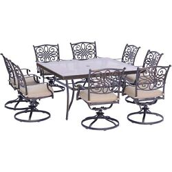 Traditions9pc 8 Swivel Rockers 60 Square Glass Top Table - Tan/glass
