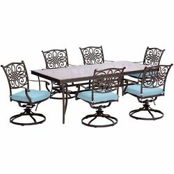 Traditions7pc 6 Swivel Rockers, 42x84 Glass Top Table - Blue/glass