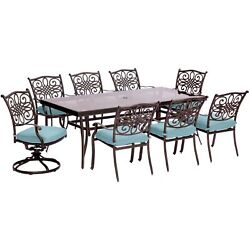 Traditions9pc 6 Dining Chairs 2 Swivel Rockers 42x84 Glass Top Table - Bl...