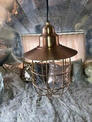 Indoor Copper Frame Hanging Ceiling Lantern Chandelier - New With Tags
