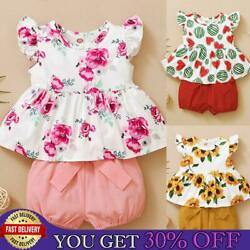 Toddler Baby Girls Ruffled Top Short 2pcs Sets Outfits Floral Fruit Print