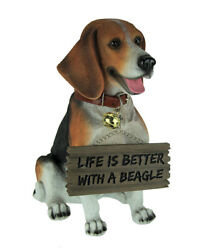 12 inch Buddy the Beagle Dog Realistic Lifelike Statue with Reversible Sign