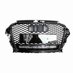 Rs3 Style For 2013-2016 Audi A3 S3 8v Front Grille Grill Gloss Black Replacement