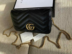 Gucci women Small Bag Black Leather Beloved Bag Gold GG Made in Italy Authentic $535.00