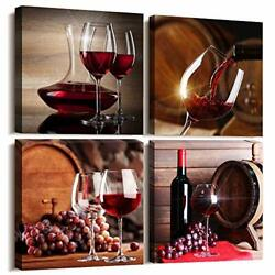 Kitchen Wall Art For Dining Room Wall Decor 12x12inches4pcs Red Wine Cups