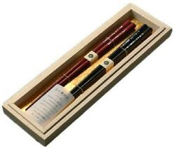 Made In Japan Couple Chopsticks 2set Paulownia Box Lacquered 22cm And 23.5cm Jp