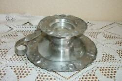 Vintage Pewter Chamberstick Candle Holder Norway Stamped Handmade Hagness