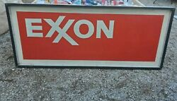 Vintage Exxon Gas Sign Double Sided Plastic Sign W/ Metal Frame 74 X 31 X 3