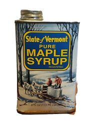 State Of Vermont Pure Maple Syrup 1/2 Pint Grade B Full Can Vintage Tin