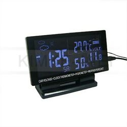 Lcd Display Car Thermometer And Hygrometer Voltage Clock Alarm New
