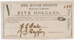 Texas C.s.a. State Red River County Clarksville M-09 5 Oct 1 1864 Ef Z