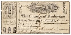 Texas C.s.a. State Anderson County Palestine M-1 1 Dollar June 1 1862 F/vf Z