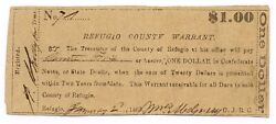 Texas C.s.a. State Refugio County Refugio M-unlisted 1.00 Jan 2 1863 F+ Z