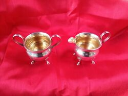 Sterling Silver Sugar And Creamer 185.6 G Footed. Excellent Condition