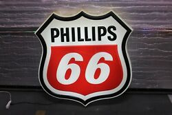 Vintage Phillips 66 Shield Gas Station Singlesided Diecut Plastic Light Up Sign
