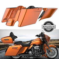 Amber Whiskey Stretched Saddlebag Rear Fender Side Covers For Harley Touring 14+