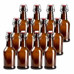 16oz Amber Glass Beer Bottles For Home Brewing - 12 Pack With Flip Caps